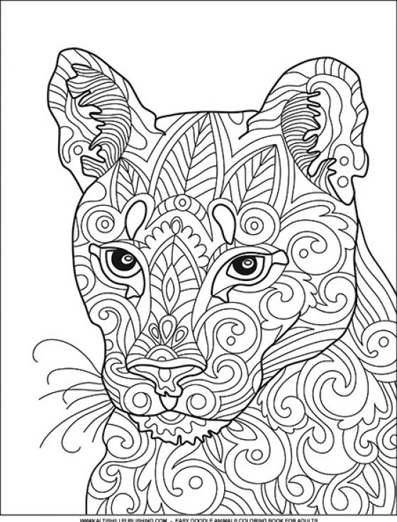 Easy Doodle Animals Coloring Book For Adults