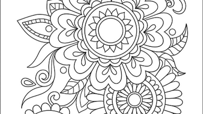 Easy Flowers Coloring Book for Adults White Background ...