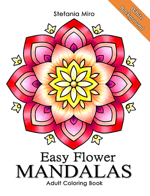simple flower mandalas white background adult coloring book