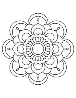 Easy Flower Mandalas White Background Adult Coloring Book
