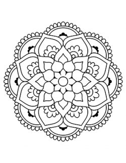 Easy Flower Mandalas White Background